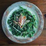 ビンチョウマグロと水菜のかんずりサラダ