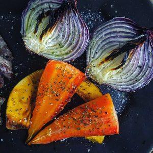 牛ロース肉と3色野菜のグリル