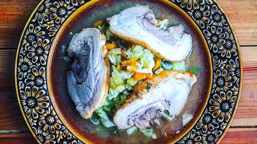 豚バラ洋風スパイシーチャーシューの野菜スープ